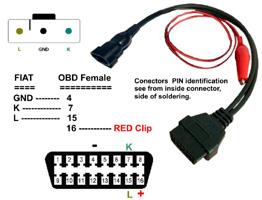 Fiat -OBDII átalakító kábel (3 tűs csatlakozó+ banándugók)
