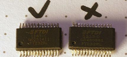 Hamis és Eredeti FT232RL chip