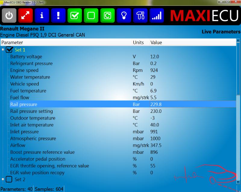 MPM-COM MaxiEcu paraméter kiolvasás